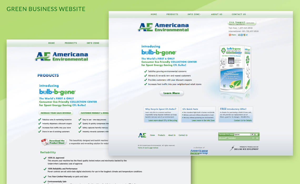 Americana Environmental - Green Business Website Design