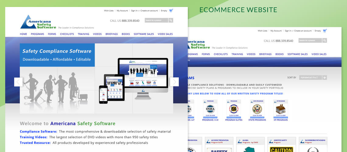 Americana Safety Software - Ecommerce Website Design