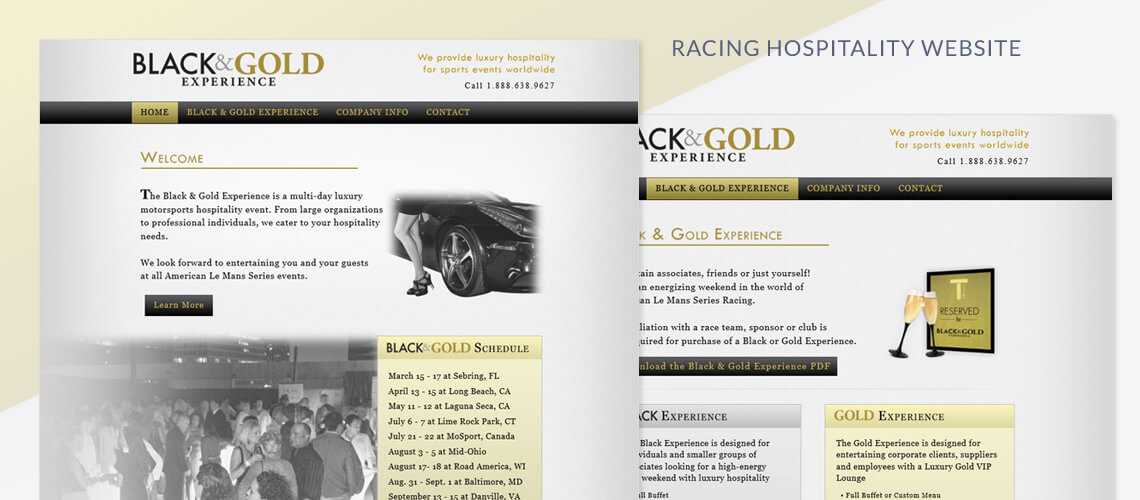 Black & Gold Experience - Racing Hospitality Website Design