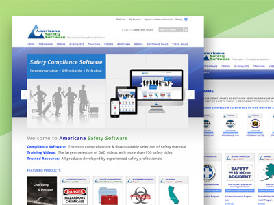 Americana Safety Software - BigCommerce, Responsive Ecommerce Web Design, Mobile App, Logo Design, Print & Digital Ad Marketing Design