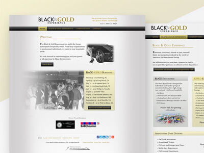 Black & Gold Experience - Racing Hospitality Web Design, Graphics Design