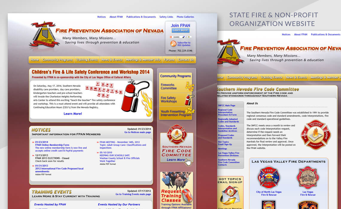 Fire Prevention Association of Nevada - State Fire & Non-Profit Organization Web Design