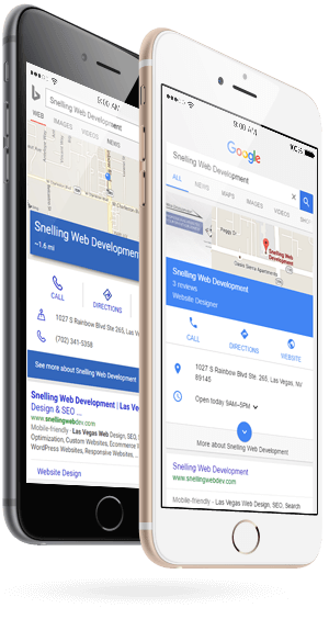 Google and Bing showing mobile-optimized search results for a small business on mobile phones